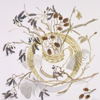 Cup with catkins and Feathers